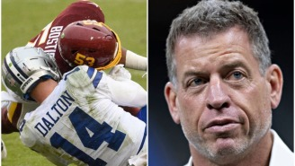 Troy Aikman Defends Cowboys' Offensive Linemen Reaction, Or Lack Thereof, Following The Andy Dalton Hit