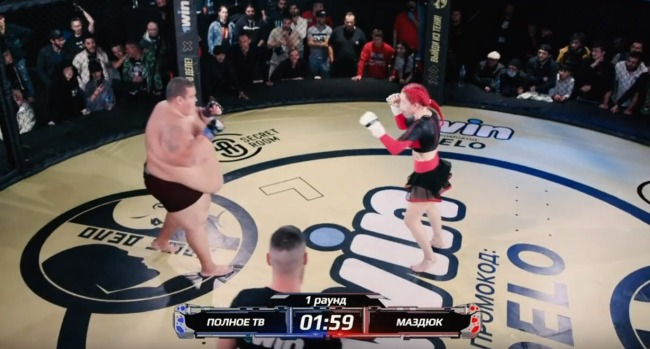 139 Pound Woman TKOs 529 Pound Man At MMA Event In Russia Video