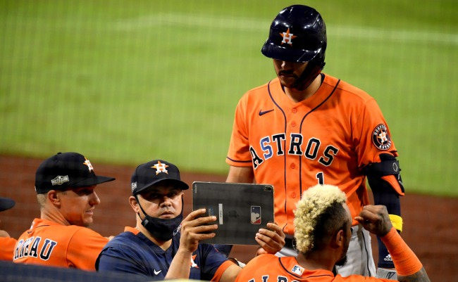 Baseball Fans Dressed In Cheating Houston Astros Halloween Costumes