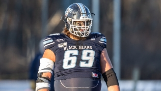 This University of Maine Offensive Lineman Sports A Handlebar Mustache, Can Dunk A Basketball And Wears No. 69