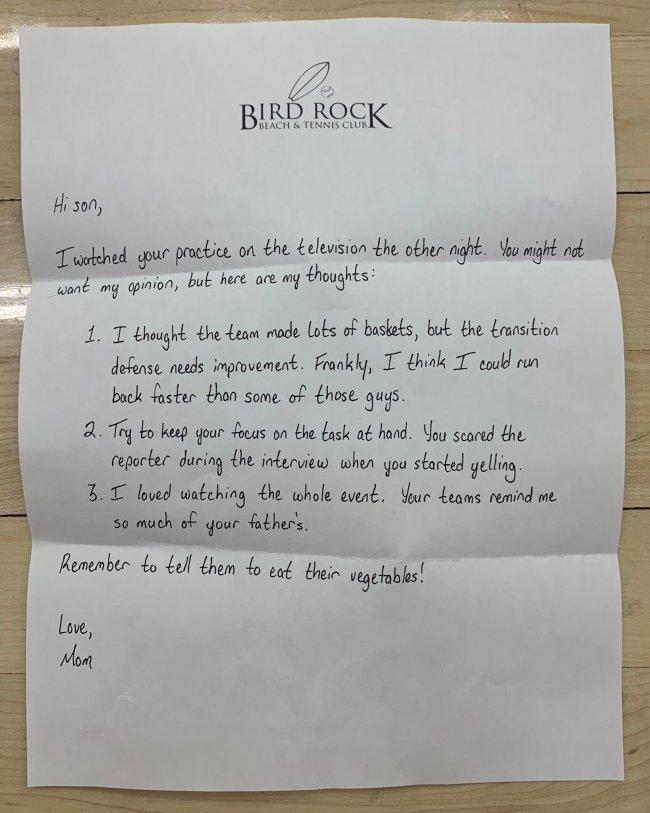 Eric Musselman Arkansas Mom Note