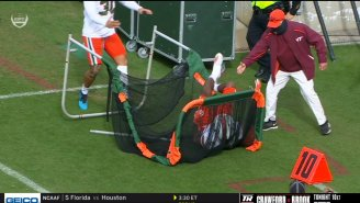 Miami's Wide Receiver Went Full-Speed Into A Field Goal Net, Lays The Biggest Hit Of The Day