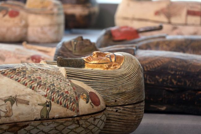 Archaeologists earthed more than 100 sarcophagi in Saqqara, Egypt at an ancient burial ground where dozens of coffins were also found last month as the country continues to make major discoveries in its bid to lure back tourists.