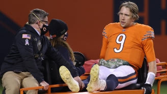 Nick Foles Carted Off After Taking A Big Hit To The Upper Body On Monday Night Football