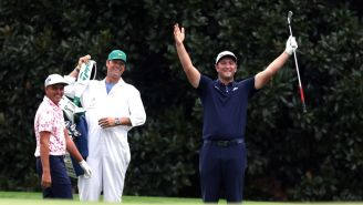 Jon Rahm Makes Hole-In-One By Skipping Ball Off The Water On 16th Hole During Masters Practice Round