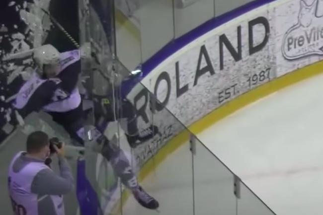 hungarian hockey breaks plexiglass celebrating goal