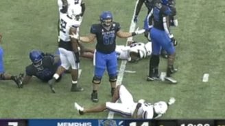 This Stephen F. Austin Defender Went Full-Send For An Epic Flop, Did Not Draw The Flag