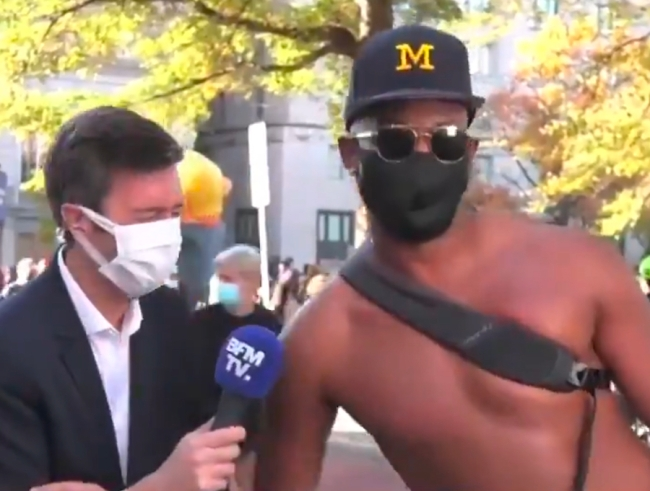 Shirtless Man French Broadcast