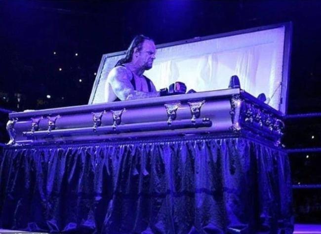 Undertaker Naps In Coffin