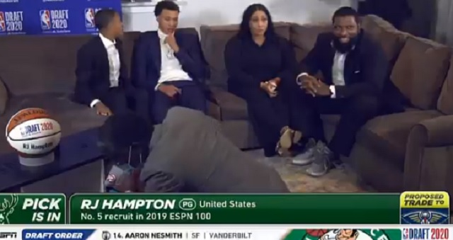 Things Get Awkward When RJ Hampton's Family Freaks Out About His Hat During NBA Draft