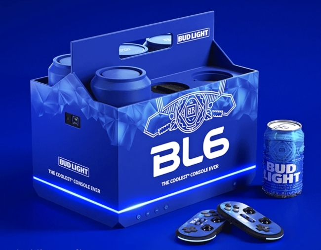 Anheuser-Busch unveils the Bud Light video game console that keeps beers cold.