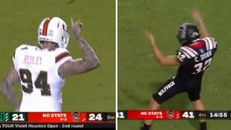 NC State's Kicker Taunts UM Bench With WWE DX Crotch Chop After UM's Punter Mocked NC State With Wolfpack Sign
