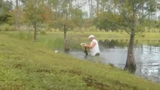Video Shows Man Prying Open Gator's Jaw Open To Save His Dog From Getting Eaten Alive