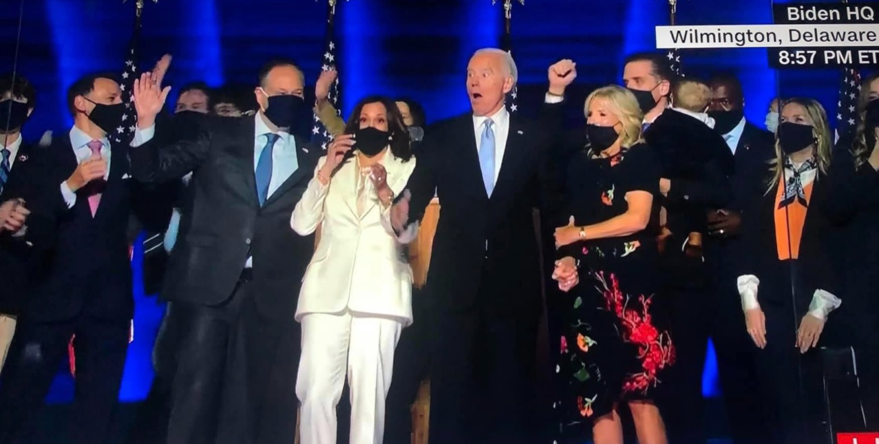 Kamala Harris's Husband Douglas Emhoff Freaks Out And Gets Scared By Confetti Cannon After Joe Biden's Victory Speech