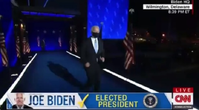 Joe Biden Running Down Ramp During His Victory Speech Gets Turned Into A WWE-Themed Meme