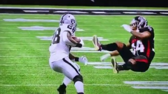 Raiders RB Josh Jacobs Sends Falcons Defender Flying After Ramming Him With Helmet During Run