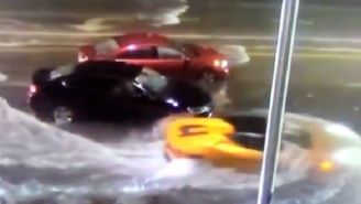 Guy Seen Casually Driving His Lamborghini In South Florida Flooded Waters During Tropical Storm Eta