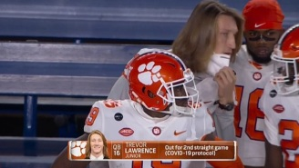 Trevor Lawrence Seen Pulling Down His Face Mask To Talk To Teammate On The Sidelines While On COVID-IR And Fans Had Questions