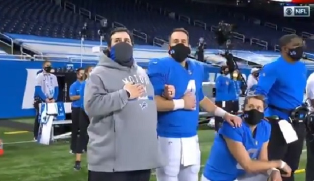Fans were shocked to see Matt Stafford kneel during the Anthem on Thanksgiving