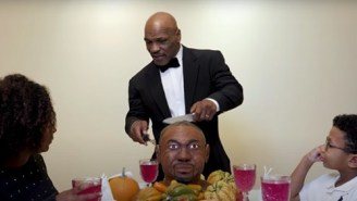 Mike Tyson Eats The Ear From a Roy Jones Jr. Cake For Thanksgiving Day Skit To Promote Upcoming Fight