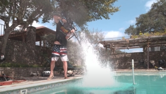 This Guy Shot A .50-Caliber Rifle Into A Pool In 4K Slow-Motion To See What It Would Look Like