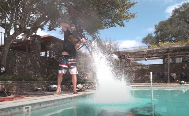 50 Caliber Rifle vs Pool