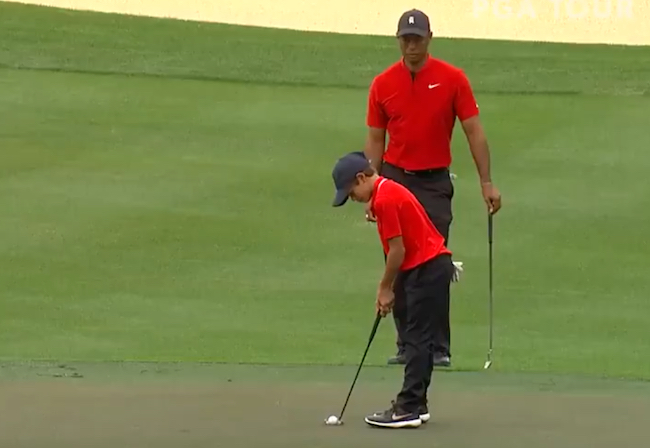 Charlie Woods – Son Of Tiger – Drains Birdie Putt And Shows That He's Already Perfected The Family Fist Pump