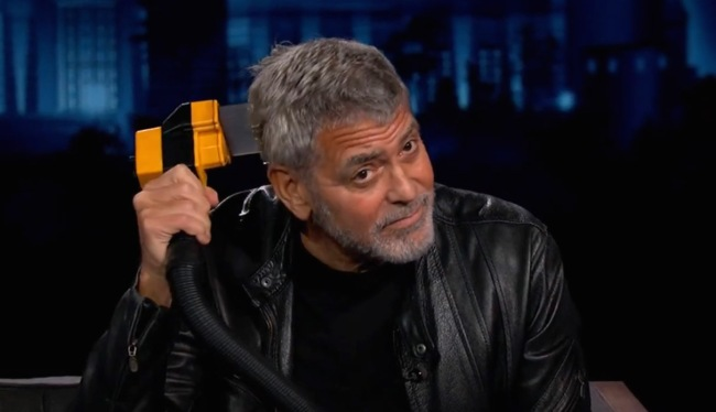 George Clooney Demonstrates His Flowbee Hair Cutting Skills For Kimmel
