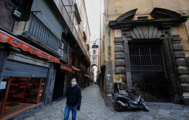 Man Walking Alone Street Italy