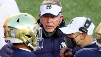 Fans Mock Notre Dame HC Brian Kelly About His Previous Comments Threatening To Boycott Playoffs After Team Gets Embarrassed By Clemson