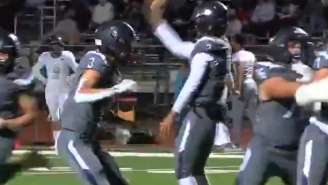 High School Quarterback Completes Insane Over-The-Head Pass Into End Zone In Final Game