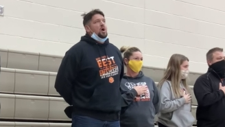 This Dad Belted Out The National Anthem At A High School Basketball Game After The Speakers Broke And Then Ate Popcorn Like Nothing Happened
