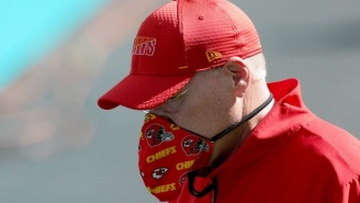 NFL Fans Mock Chiefs HC Andy Reid Over His New Face Mask That Looks Like A Feedbag