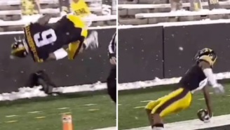 Iowa WR Ihmir Smith-Marsette Injured Himself After Celebrating By Flipping Into End Zone During TD