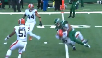 Jets QB Sam Darnold Hits Browns LB Malcolm Smith The Truck Stick And Runs Hims Over For First Down
