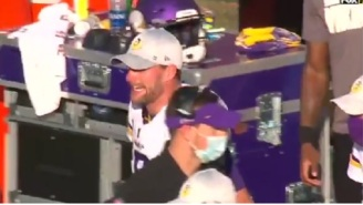 Angry Vikings QB Kirk Cousins Gets Heated And Yells At His O-Line On The Sideline After Getting Sacked For Sixth Time In Game Vs Bucs