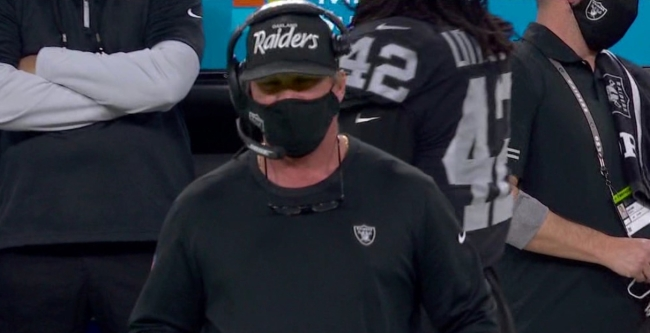 NFL Fans Mock Jon Gruden For Mistakenly Wearing The Wrong Hat During Game