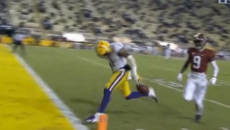 LSU WR Kayshon Boutte Commits Bonehead Play And Drops Ball Before Scoring Touchdown, Gets Saved By Teammate