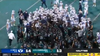 Things Get Heated Between Coastal Carolina And BYU As Benches Clear And A Brawl Nearly Breaks Out Before Halftime