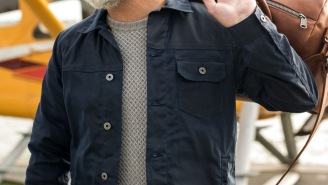 The American-Made Flint And Tinder Flannel-Lined Waxed Trucker Jacket Is On Sale In Navy