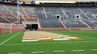 Neyland Stadium's Goal Post Is Very Crooked After Florida Players Hit It On The Way To The Locker Room In Pregame