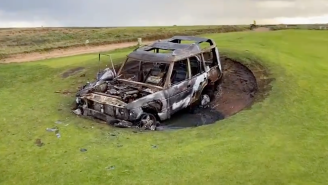 Idiot Takes Range Rover For A Joyride On A UK Golf Course, Proceeds To Light It On Fire In A Bunker