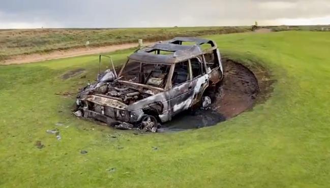 range rover golf course fire