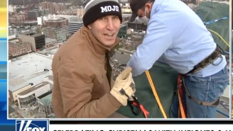 Will Cain, Brian Cashman, And Aaron Boone Rappel Down 22-Story Building In Stamford