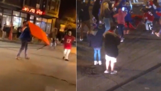 Bills Fan Celebrates AFC Championship Berth By Breaking A Table In The Middle Of Busy Street