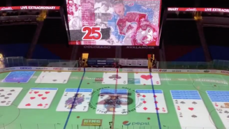 An Avalanche Employee Projected A Game Of Solitaire On The Rink For Some On-Ice Entertainment Between Periods