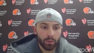Baker Mayfield Takes A Shot At FS1's Colin Cowherd By Wearing His Hat Backwards During Press Conference