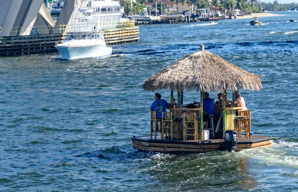 floating tiki hut bar boat