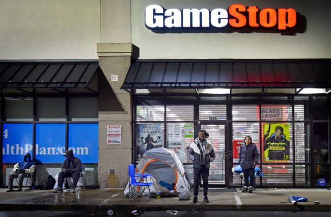 Shoppers camped outside of the Game Stop