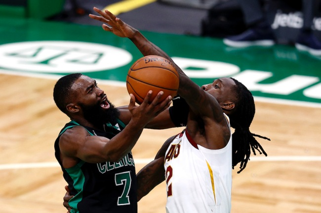 Celtics guard Jaylen Brown set a wild NBA record by scoring 33 points in just 19 minutes against the Cavs on Sunday night